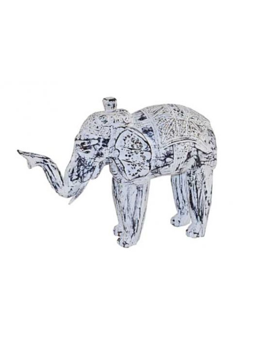 Aladdin Wooden Elephant - White Wash