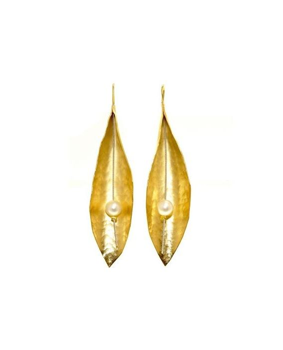 CATHERINE BIJOUX 'LEAF' EARRINGS - GOLD