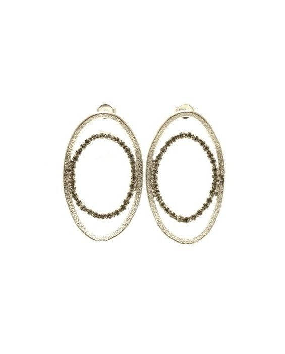 CATHERINE BIJOUX 'OVAL' EARRINGS - SILVER