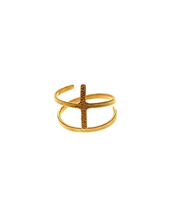 CATHERINE BIJOUX 'CROSS' RING - ROSE GOLD