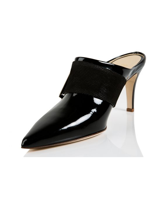 K.Spin Patent Leather Mule - Black