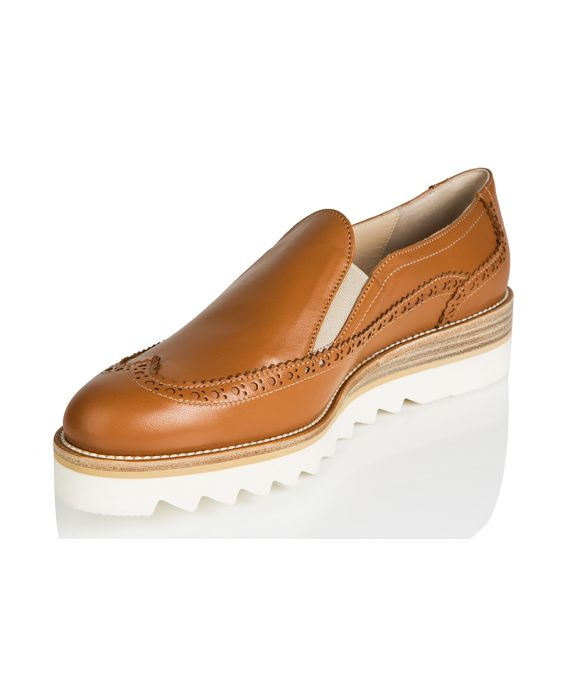 Franco Russo Brogue Style Leather Sneaker - Brown