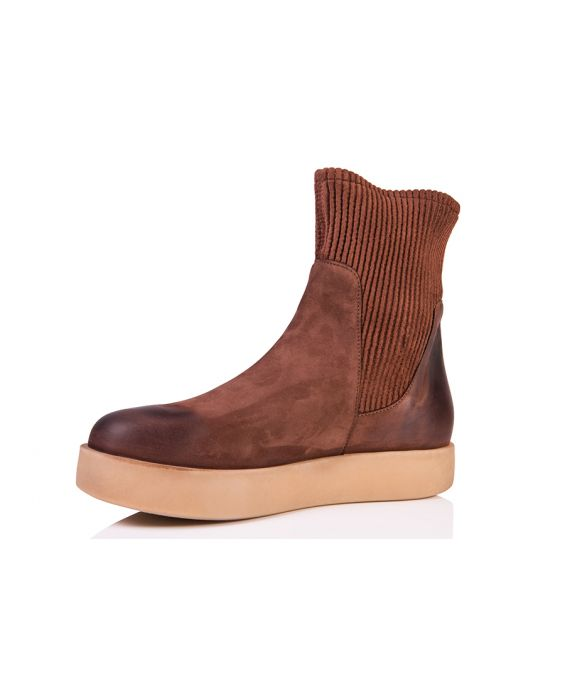 Andia Fora 'Hamal' Nabuk Leather High-Top Sneaker - Rusty Brown