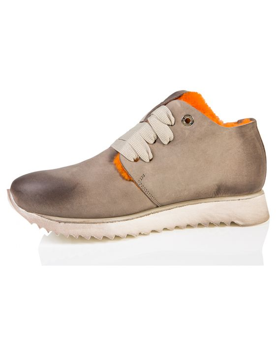 Andia Fora 'Jupiter' Nubuck Leather Sneaker - Taupe/Orange