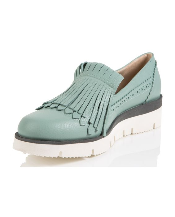 18KT Leather All Fringe Sneaker - Submarine Green