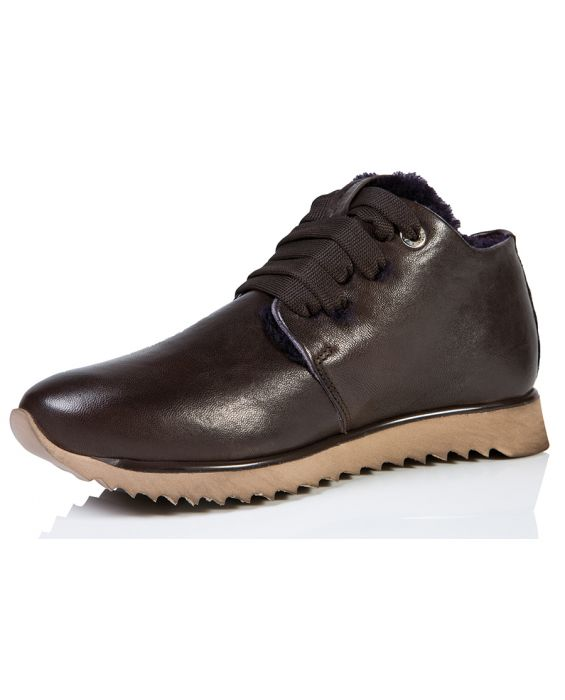 Andia Fora Zanzi Leather Sneaker - Brown