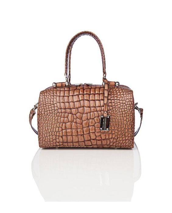 GIORDANO – EMBOSSED CROC LEATHER SATCHEL - BROWN