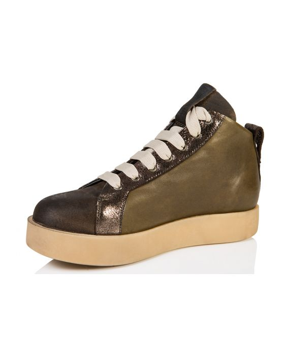 Andia Fora 'Basket' Suede Leather High-Top Sneaker - Olive/Bronze