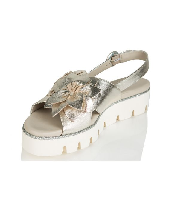 181 Laminated Leather Sandal - Silver