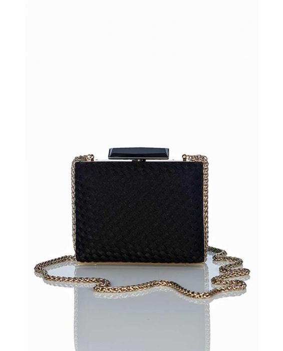 Chiarap Woven Satin Clutch - Black
