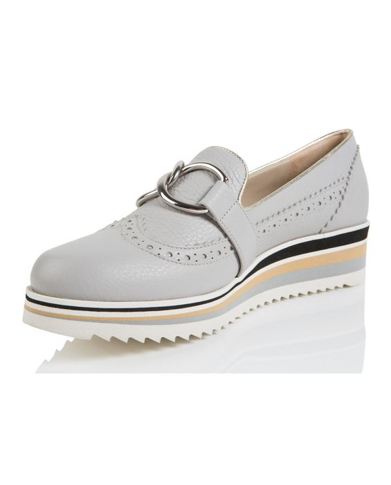 18KT 'Adria' Leather Sneakers - Grey