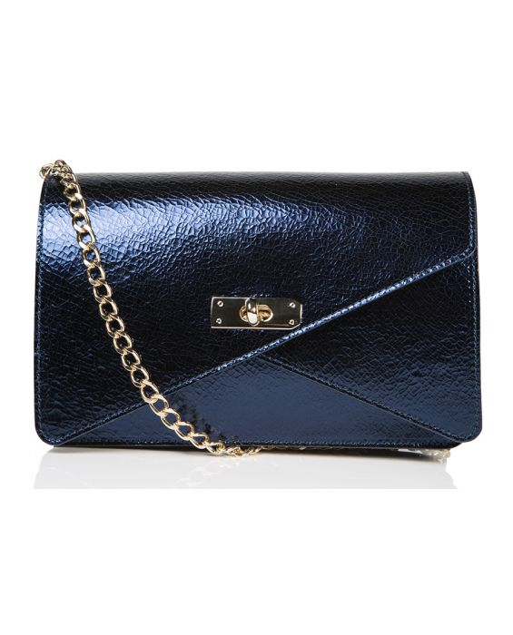Wild Inga 'Barbara' Leather Shoulder Bag - Metallic Navy Blue