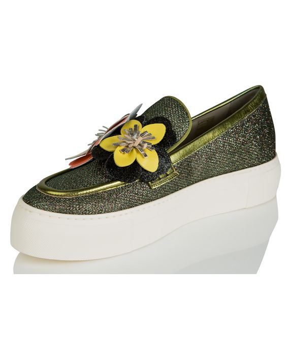 181 'Enid' Glitzy Fabric / Leather Sneaker - Carbone (Wide Fit)