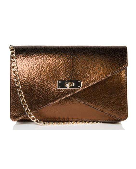 Wild Inga 'Barbara' Leather Shoulder Bag - Metallic Bronze