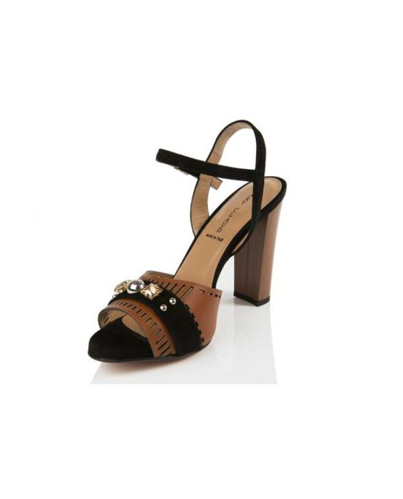 Mary Claud - Ella Brown leather and black suede Sandal