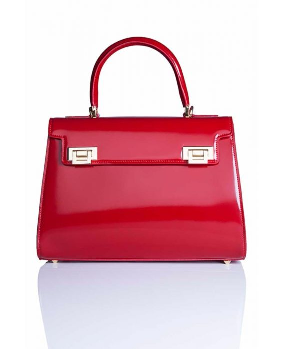 FONTANELLI - POLISHED LEATHER TOTE - RED