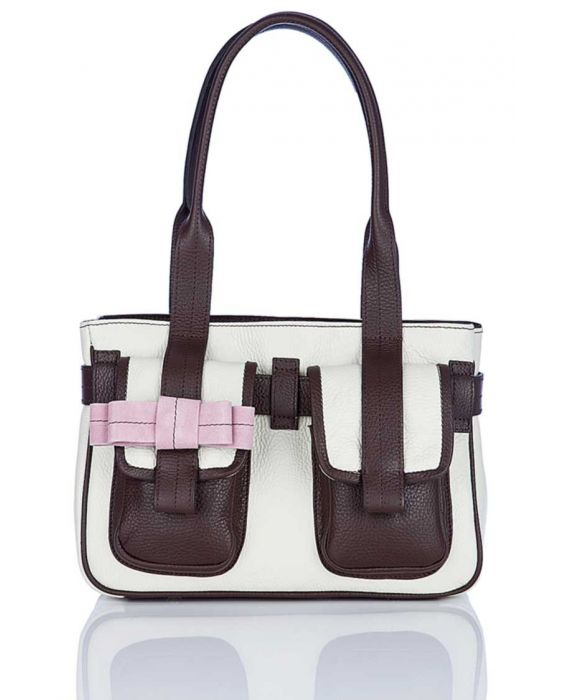 MINNOZZI 'CUTE' LEATHER TOTE - BEIGE & BROWN