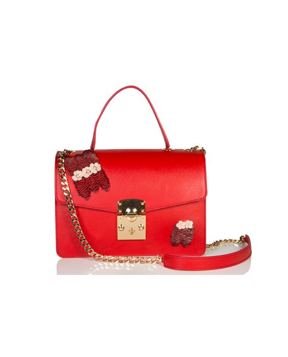 Wild Inga 'Marlene' Embroidery Leather Shoulder Bag - Red