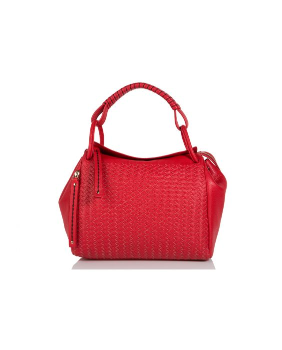 Plinio Visona Hand Woven Full Grain Calfskin Leather Tote - Red