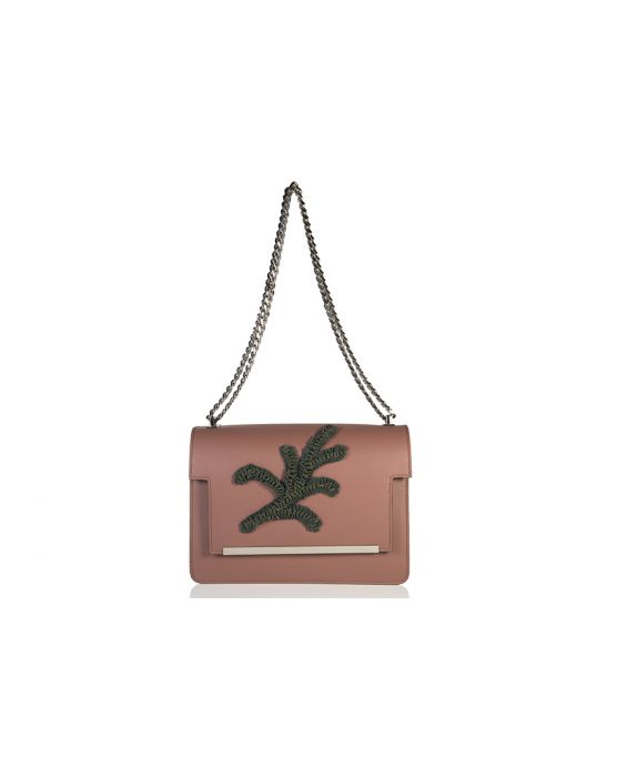 Wild Inga 'Marlene' Leather Shoulder Bag - Brown/Green