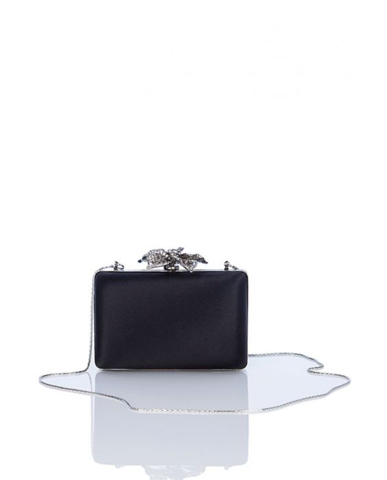Chiarap 'Flower' Satin Clutch - Black
