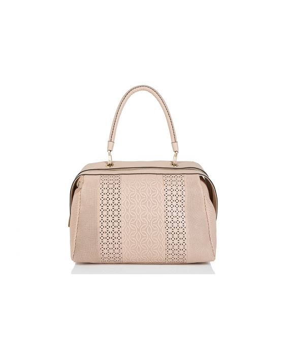 Plinio Visona Full Grain Calfskin Leather Tote - Nude