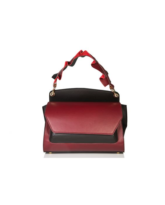 Wild Inga Medium Scarlett Leather Tote - Bordeaux/black