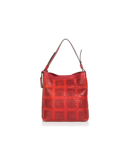Plinio Visona Calf Leather Hobo - Red