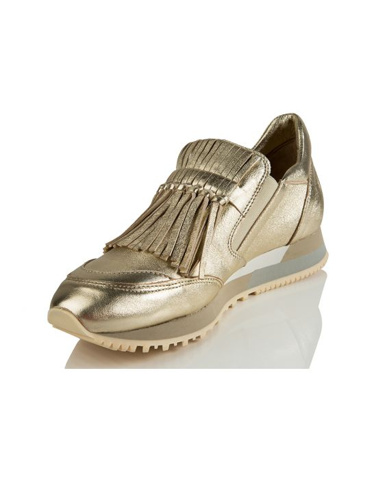 Shi's Washed Gold Leather Sneaker - Gold