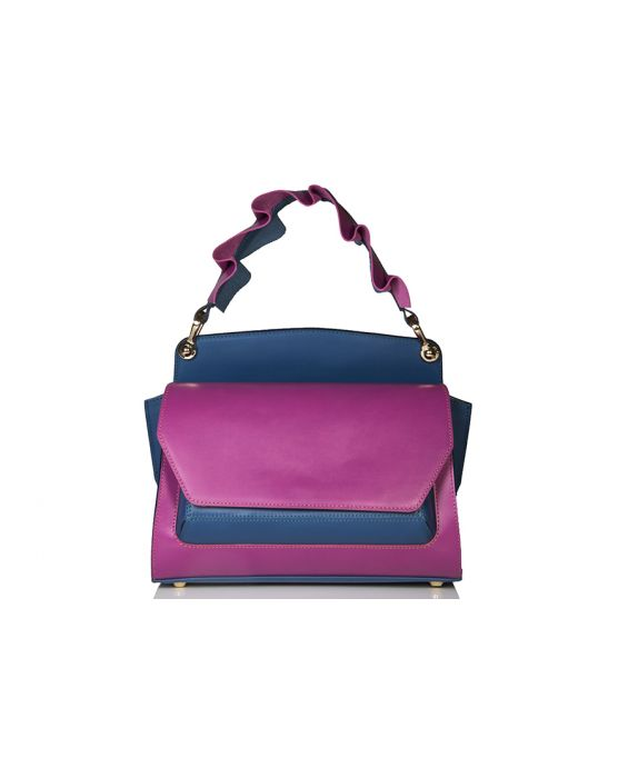 Wild Inga Medium Scarlett Leather Tote - Pink/Blue