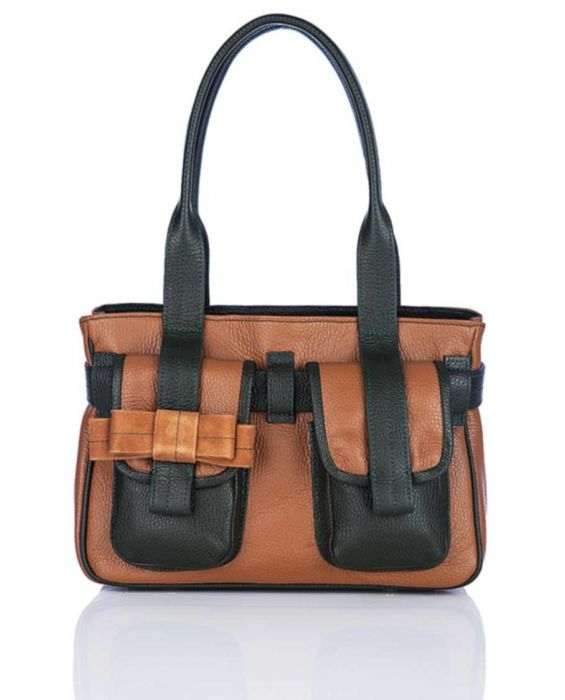 MINNOZZI 'CUTE' LEATHER TOTE - BROWN & OLIVE GREEN