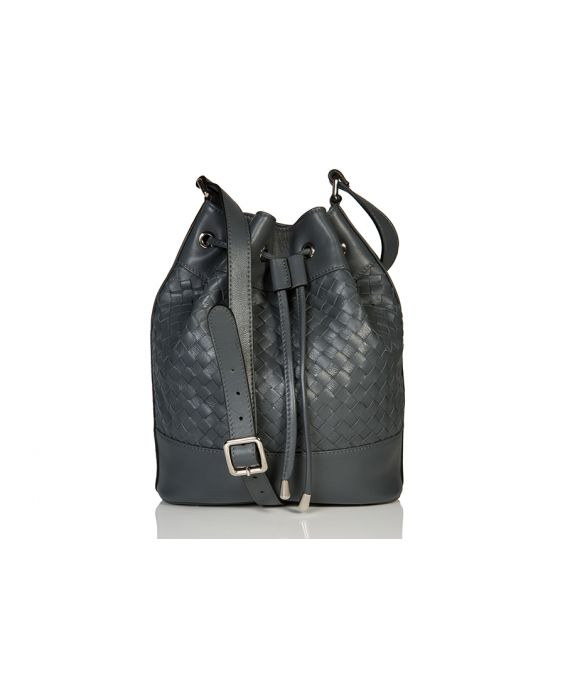 Venetian Style Wooven Leather Bucket Bag - Dark Grey