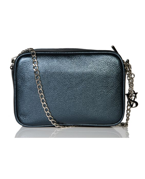 Venetian Style Metallic Leather Shoulder Bag - Blue