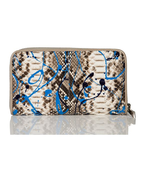 Venetian Style Python Leather Wallet - Natural/Blue