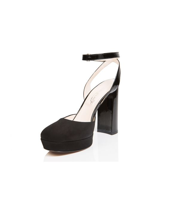Danilo Di Lea Suede and Patent Leather Sandal - Black