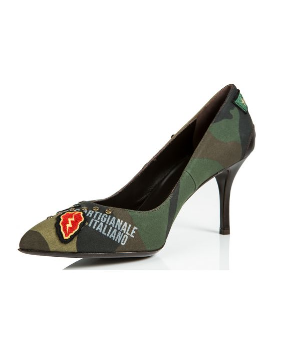 Goffredo Fantini Camouflage Canvas Pump - Brown