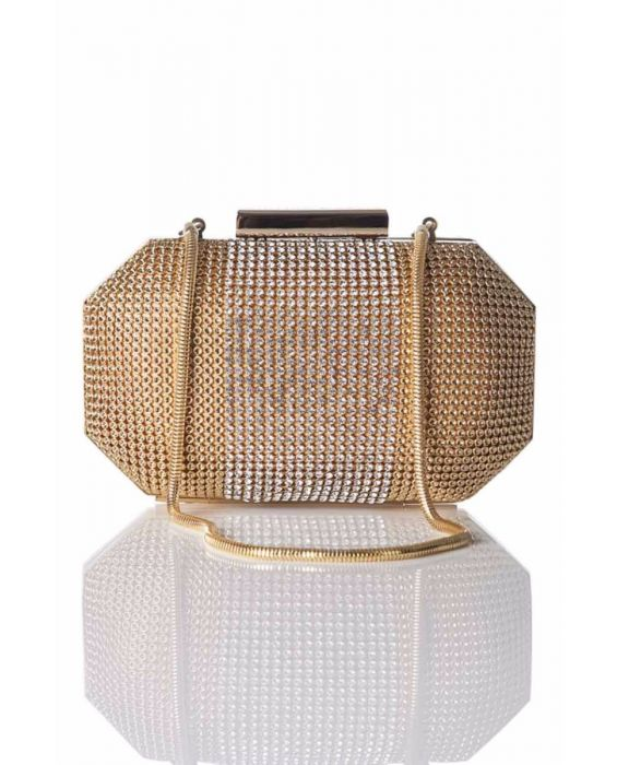 Whiting & Davis 'Bombe Box' Clutch - Gold