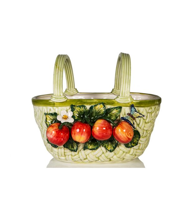 Ceramiche D'Arte Ceramic Basket - Green