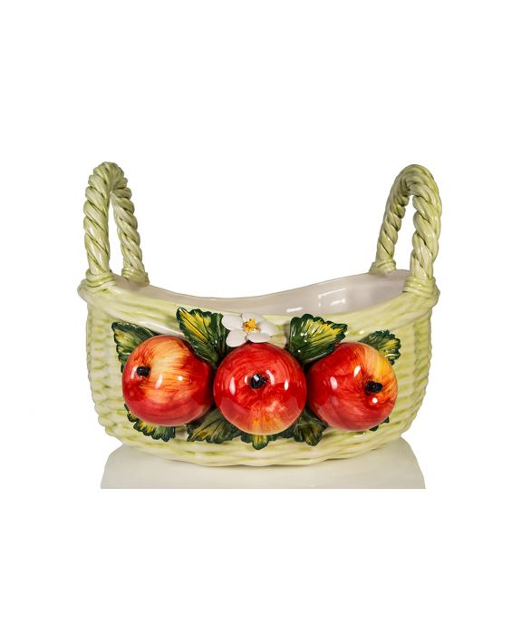 Ceramiche D'Arte Woven Ceramic Fruit Basket - Light Green
