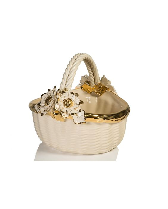 Ceramiche D'Arte Ceramic Fruit Basket - Champagne/Gold