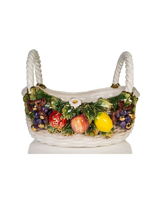Ceramiche D'Arte Oval 'Mixed Fruit' Basket