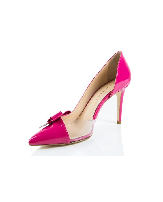 Chantal 1962 Patent Leather/Vinly Half d'Orsay - Fushia Pink