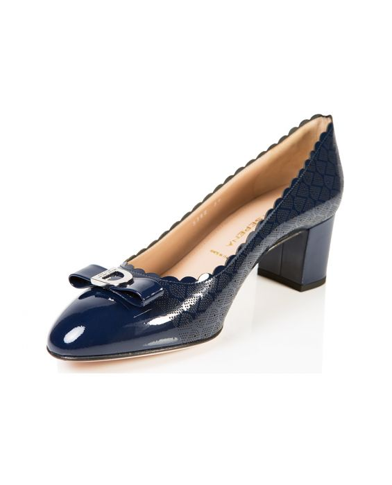 Donna Serena Patent Leather Pump - Navy Blue