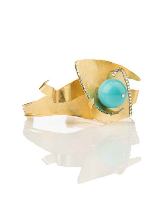 FOBE- Graphic Appeal Cuff - Turquoise/Brass