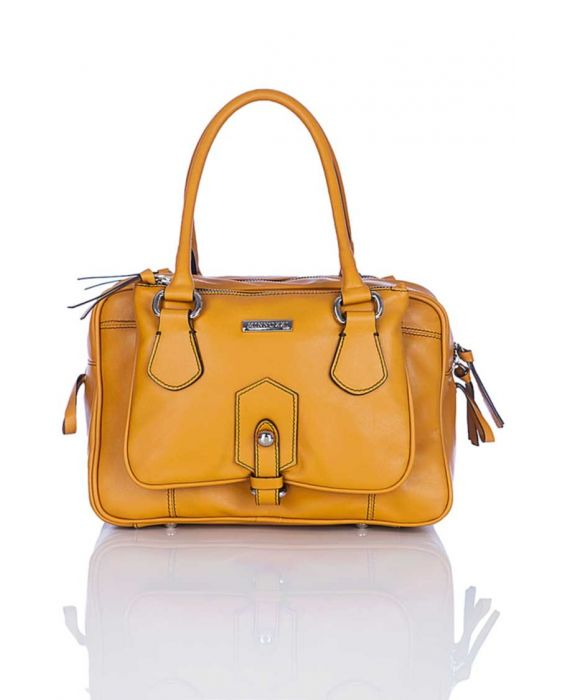 Minnozzi 'Box' Leather Satchel - Yellow
