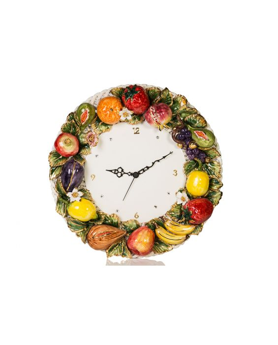 Ceramiche D'Arte Fruit Decorated Wall Clock