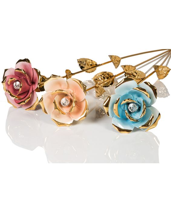 Ceramiche D'Arte Single Rose Flower - Gold Tone Stem