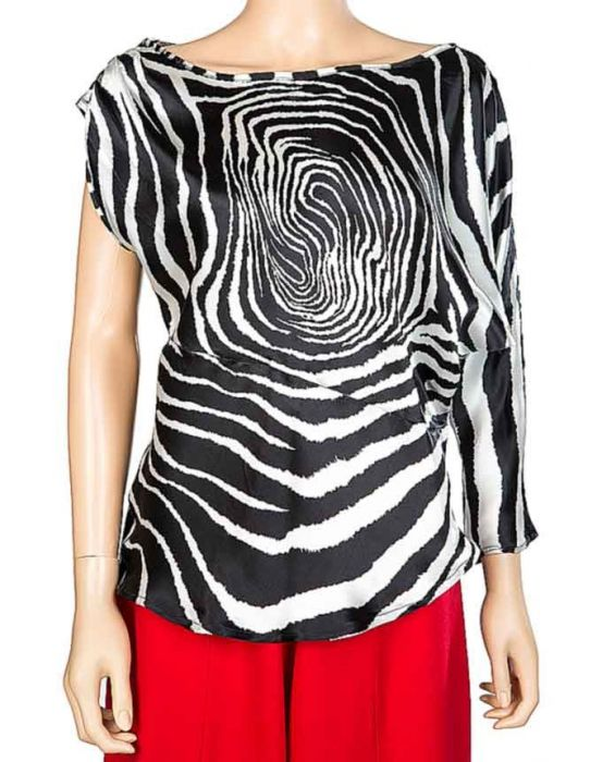 DE-SOLA ONE SLEEVE BLOUSE - BLACK/WHITE