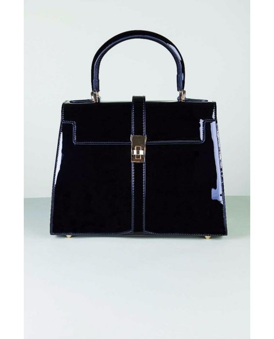 FONTANELLI - PATENT LEATHER TOTE - NAVY BLUE