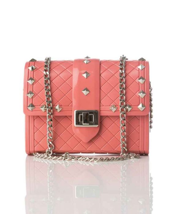 VIALACTEA - VINYL SHOULDER BAG - CORAL